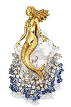 Rock crystal aquamarine sapphire diamond mermaid brooch c 1945 Verdura