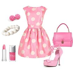 LOVE IT! but minus the polka dots on the dress and earrings. NO polka dots :S   Girly Girl, created by gailmarie on Polyvore