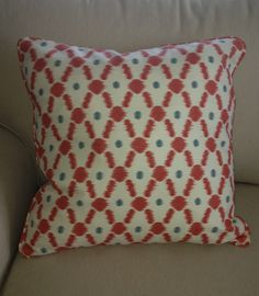 """Orange and blue graphic print in cotton blend 20x20"""" pillow cover with hidden zipper and self welting. $45.00 www.kelly@kellydesignsofCT.com"""