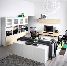 IKEA: Customize your living room entertainment and storage needs. Get started now with our online planner. Ikea Living Room, Cozy Living Rooms, Home And Living, Living Spaces, Tv Cabinet Ikea, Tv Ikea, Black And White Living Room, Home Decoracion, Home Design