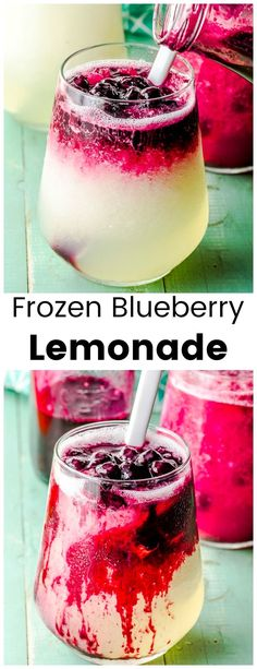 This refreshing Frozen Blueberry Lemonade, will become your new favorite frozen summer drink. Made with a delicious combination of tangy lemons and sweet blueberries. Informations About Frozen Blueberry lemon Blueberry Drinks, Blueberry Lemonade, Frozen Blueberry Recipes, Recipes With Frozen Blueberries, Blueberry Cocktail, Blueberry Sauce, Frozen Lemonade, Frozen Drinks, Vodka Lemonade Drinks