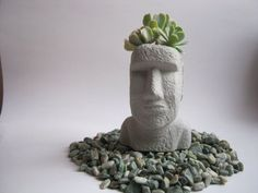 - Handmade item - Materials: concrete, cement, stone, rock, sand - Only ships within United States. This easter island head planter, Or Moai planter makes a perfect plant pot for air plants, succulent