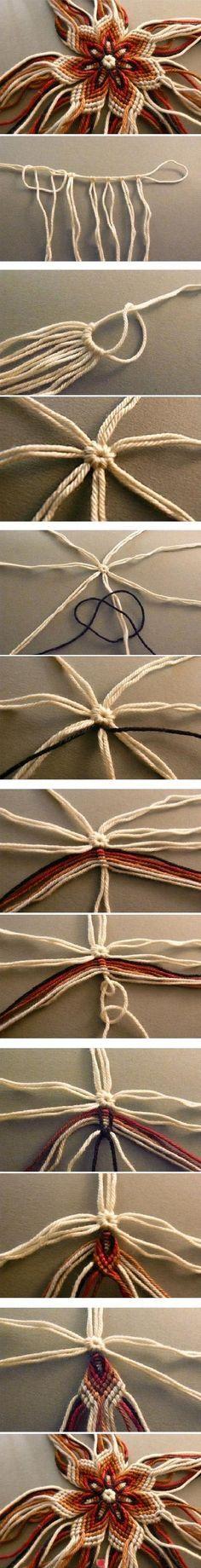 DIY No-Knit Weaving Flower of Yarn