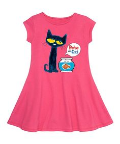 Instant Message Raspberry Pete the Cat Fit & Flare Dress - Toddler & Girls | zulily