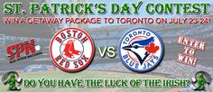 Enter for a chance to win a Red Sox Blue Jays Getaway Package in July!   You could be our lucky winner selected to attend the Red Sox vs. Blue Jays at the Rogers Centre™ stadium in Toronto on July 23rd & 24th with one nights accommodation in Toronto, ON provided. Invite your friends to enter the ♣ St Patrick's Day Contest ♧ and increase your chances of winning.   DO YOU HAVE THE THE LUCK OF THE IRISH?