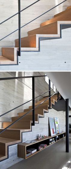 18 Examples Of Stair Details To Inspire You // These stairs are a combination of wood and steel, and are perfect for an industrial look, especially when paired with concrete. - 18 Examples Of Stair Details To Inspire You Wood Railing, Wood Staircase, Stair Handrail, Railing Design, Staircase Design, Railing Ideas, Steel Stairs Design, Stair Design, Railings
