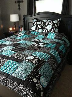 Blue black floral quilt