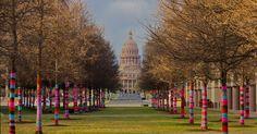 O grupo Knitta, Please reuniu diversas voluntárias de uma escola para fazer esse trabalho em uma praça em frente ao prédio do Capitólio, em Washington, nos Estados Unidos