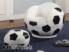 soccer theme rooms | Small Kids Soccer Chair with Ottoman - Boys Room Furniture - My Pigsty