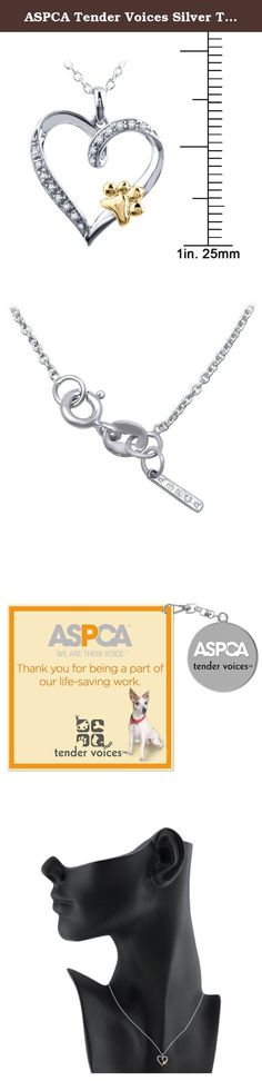 ASPCA Tender Voices Silver Two Tone Diamond Paw on a Heart Pendant in Sterling Silver with Yellow Plate. Pet lovers are a special breed of humans. This pendant shows the love towards animals. From the ASPCA Tender Voices Jewelry Collection, this sterling silver with 10k yellow gold paw heart pendant features 14 white natural diamonds, color IJ and I3+ clarity. A complimentary 18 inch cable chain with spring lock and also includes a small 'ASPCA' tag dangling at the clasp to ensure its...
