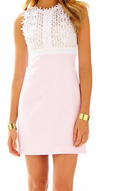 Light pink Lily Pulitzer lace top shift dress