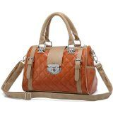 KARASI Dual-tone Brown Diamond Quilted Turn-lock Bowling Style Handbag Satchel Purse Shoulder Bag