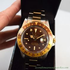 A 1979 Vintage Rolex GMT-Master Ref. 1675 with a 'Root Beer' bezel. This two-tone, 18K Yellow Gold and Stainless Steel watch features a brown dial with gold, framed luminous markers, a 26-jewel caliber 1570 movement and a Rolex Two-tone, Oyster bracelet to boot. (Store Inventory # 10184, listed at $8150). #rolex #gmt #brown #rootbeer #mens #vintage #swiss #timepiece #wristwatches #wristwatch #watches #watch #timepieces #classic #stawc