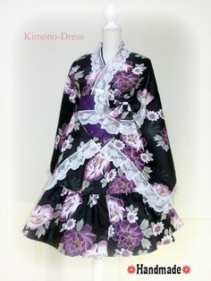 Japanese Kimono Dress Jacket washable Flower Lace black Dress Cosplay Gothic and Lolita Ribbon Maid Dress Kimono Robe Skirt Asian Kawaii 8 Japanese Outfits, Japanese Fashion, Japanese Geisha, Harajuku Fashion, Lolita Fashion, Japanese Kimono Dress, Cosplay, Cute Kimonos, Maid Dress