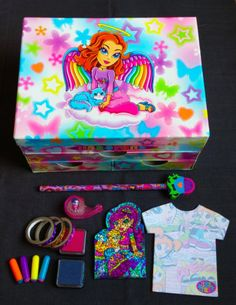 Lisa-Frank-Angel-Stationery-Sticker-Box-Lot-With-Pencils-Notepads-Stamps-More