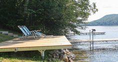 Shoreside platform used as a shore hitch for an articulating dock Hillside Deck, Steep Gardens, Platform Deck, Hillside Landscaping, Landscaping Ideas, Lake Dock, Pond Life, Backyard Pool Designs, Patio Gazebo