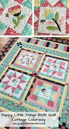 Happy Little Things Block of the Month Quilt Pattern - Digital – Jacquelynne Steves Embroidery Supplies, Embroidery Patterns, Hand Embroidery, Quilt Patterns, Quilting Quotes, Quilt Labels, Block Of The Month, Quilted Wall Hangings, Little Flowers
