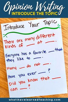 Teach students to introduce their topic with opinion writing with these simple teaching ideas. Use familiar books and writing samples to explore how others introduce the topic. Use sentence frames to scaffold students' writing. Give students a lot of practice with writing introductions. These are great teaching ideas after students have mastered stating an opinion and supplying reasons. Writing Mentor Texts, Narrative Writing, Informational Writing, Opinion Writing, Persuasive Writing, Writing Workshop, Workshop Ideas, Creative Writing For Kids, Writing Prompts For Kids
