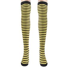 Creazy Women Girl Thin Zebra Stripe Boot Cuffs Warmer Cotton Leg Long Tube Sockings Yellow >>> More info could be found at the image url.