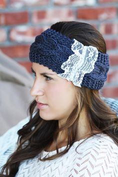 Headband - Knitted , Cable Knit,Charcoal Blue , Ivory Lace, Accordion, Wide Headband, Turban,