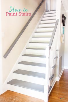 Tutorial on how to paint stairs without sanding. Love this step by step DIY for painting stairs and all the before and after pictures of this beautiful grey and white staircase makeover. makeover staircase remodel Your How to Guide for Painting Stairs Painted Staircases, Painted Stairs, Painting Wooden Stairs, Staircase Painting, Painting Steps, Spiral Staircases, Staircase Makeover, Staircase Remodel, Stair Redo