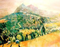 Von der Sahmalm Richtung Sonnstein, Aquarell 2015, 50 x 63 cm