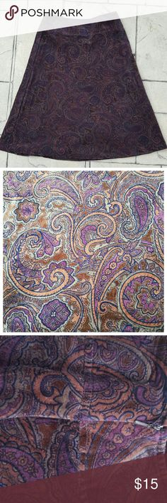 """Paisley Purple Velvet Skirt Elegant Purple Velvet Skirt!  The Paisley pattern gives it a 70s vibe!  Wicked cute with balck tights and boots!  I'm 5'7"""" and it hits below my knees!  Perfect fall and winter skirt!!  Thanks for shopping! Merona Skirts"""