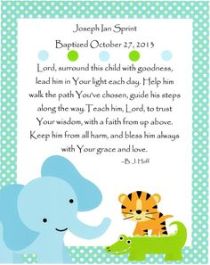 Baptism Gift, Nursery Art, Kids Wall Art, Baby Boy Nursery, Elephant, Tiger, Aligator, Child's Prayer, 8x10 Print