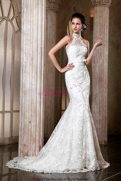 High Neck Applique Lace Mermaid Style Halloween Wedding Dresses.JPG (506×759)
