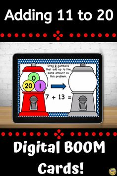 Addition Facts to 11 to 20 – Bubble Gum Addition - Digital Task Cards – Distance Learning This deck of cards focuses on addition facts to 11 to 20 and includes 30 slides. Students will solve a problem and then drag and drop numbered gumballs to create an equation that equals the same amount. This deck gives them valuable practice using their addition skills and challenging them to find equations that equal the same amount. These are great for advanced learners! #smithsafari #BoomCards Grade My Teacher, Teaching Math, Teaching Ideas, Addition Facts, Math 2, Task Cards, Deck Of Cards, Bubble Gum, Teacher Appreciation