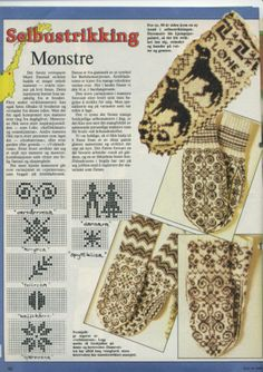 norwegian mittens, patterns pinned next to pic Knitted Mittens Pattern, Fair Isle Knitting Patterns, Knitting Charts, Knitting Socks, Mitten Gloves, Knit Or Crochet, Filet Crochet, Norwegian Knitting, Mittens