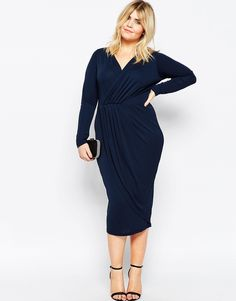 Image 4 ofASOS CURVE Pencil Dress with Pleat Wrap Detail in Crepe