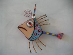 Twisted Sardine, Original Found Object Sculpture, Wood Carving, Wall Art, by Fig Jam Studio