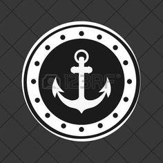 anchor emblem image vector illustration nautical design Illustration
