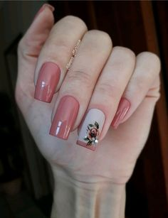 Dicas para unhas lindas e bem decoradas. Fancy Nails, Trendy Nails, Pink Nails, Square Nail Designs, Nail Art Designs, Manicure E Pedicure, Square Nails, Flower Nails, Gorgeous Nails