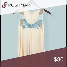 COMING SOON SAND & SKY Embroidered Tank Top Beautiful lines and embellishment make this scoop neck tank top a work of art.  Embroidery, with bugle and seed beads.  Graceful high-low hem.  Cotton 96% Spandex 4%.  Sizes S, M.  Specify your size.  See size chart. Boutique Tops Tank Tops