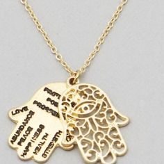 Hamsa hand message necklace gold New! Worn gold tone 16 plus 2  inch extender necklace. Use the add to bundle feature and save 15%. Handmade items excluded from bundle discount but comment if you'd like to combine this with handmade items to save on shipping.  #hamsa Jewelry Necklaces
