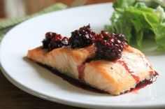 Roasted Salmon with Blackberry-Jalapeno-Butter Sauce...hmmmm?