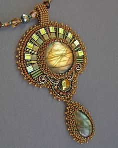 """Buy or order Pendant """"Girl – Autumn"""" in … - Perlen Schmuck Bead Embroidery Tutorial, Bead Embroidery Jewelry, Beaded Embroidery, Beaded Jewelry Designs, Seed Bead Jewelry, Labradorite, Beaded Brooch, Gothic Jewelry, Bead Weaving"""