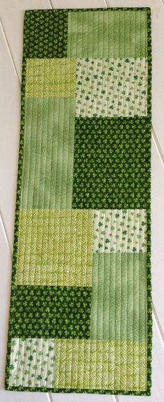 Quilted St. Patrick's Day Table Runner in shade by LawsonCreations