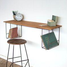 X desk shelves, industrial wall shelves, wood wal Home Office Design, Home Office Decor, Diy Home Decor, Home Office Furniture Desk, Corner Furniture, Desk Office, Furniture Chairs, Office Ideas, Desk Shelves