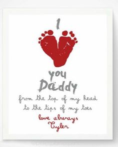 Valentines Day Gift for New Dad - I Love You Daddy Baby Footprint Art Print, Red Heart, Baby& First Valentines Day, Gift for Grandfather valentinecrafts Fathers Day Crafts, Valentine Day Crafts, Daddy Valentine Gifts, First Valentines Day Baby, First Fathers Day, Holiday Crafts, Toddler Crafts, Crafts For Kids, Kids Diy