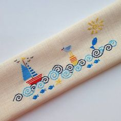 24 ideas for embroidery christmas patterns hand Cross Stitch Sea, Cross Stitch Bookmarks, Cross Stitch Borders, Cross Stitch Designs, Cross Stitching, Cross Stitch Patterns, Baby Embroidery, Cross Stitch Embroidery, Embroidery Patterns
