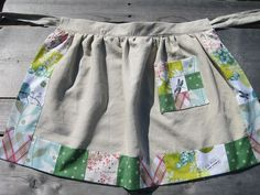 "An Apron I made using linen and quilt fabric scraps. Pattern is from ""I Love Patchwork"", by Rashida Coleman-Hale"