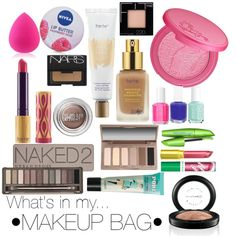 What's in my makeup bag by yebba97 on Polyvore featuring polyvore, fashion, style, Urban Decay, tarte, MAC Cosmetics, Benefit, NARS Cosmetics, Maybelline and COVERGIRL
