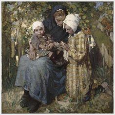 "William Lee-Hankey (British, 1869-1952) ""Knitting Lesson"" 1914"