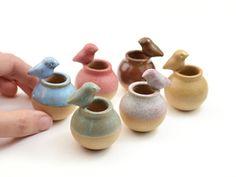 Tiny birdie vase - miniature vase, ceramic vase, dollhouse - several colors - model B