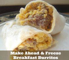Make ahead and Freeze Breakfast burritos freezer meal