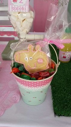 Fun favors at a Peppa Pig birthday party!  See more party planning ideas at CatchMyParty.com!