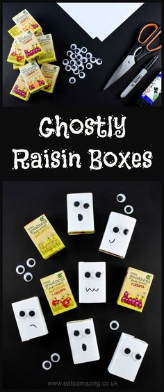 Easy healthy Halloween fun food idea - ghost raisin boxes - perfect for Halloween party food snacks lunch boxes and trick or treaters - Eats Amazing UK